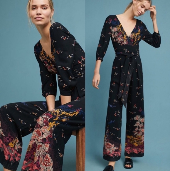 Anthropologie Pants - Anthro Nara Floral Jumpsuit Feather Bone *Rip slee